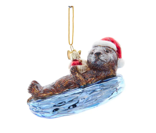 Noble Gems Sea Otter Glass Ornament, 4""