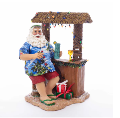 KSA Beach Santa Sitting At Tiki Bar, 11""