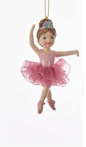 Ballerina Girl With Tutu Ornament, 4""