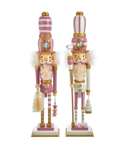 Hollywood Pink And Gold Nutcrackers, 17.5""
