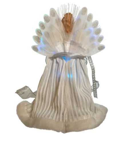 Fiber-Optic White and Silver Angel LED Lighted Treetop, 12""