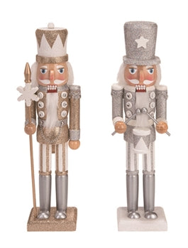 Wood Whimsical Nutcracker Gold & Silver, 15""