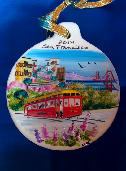 Hand Painted Ceramic San Francisco Cable Car Ornament