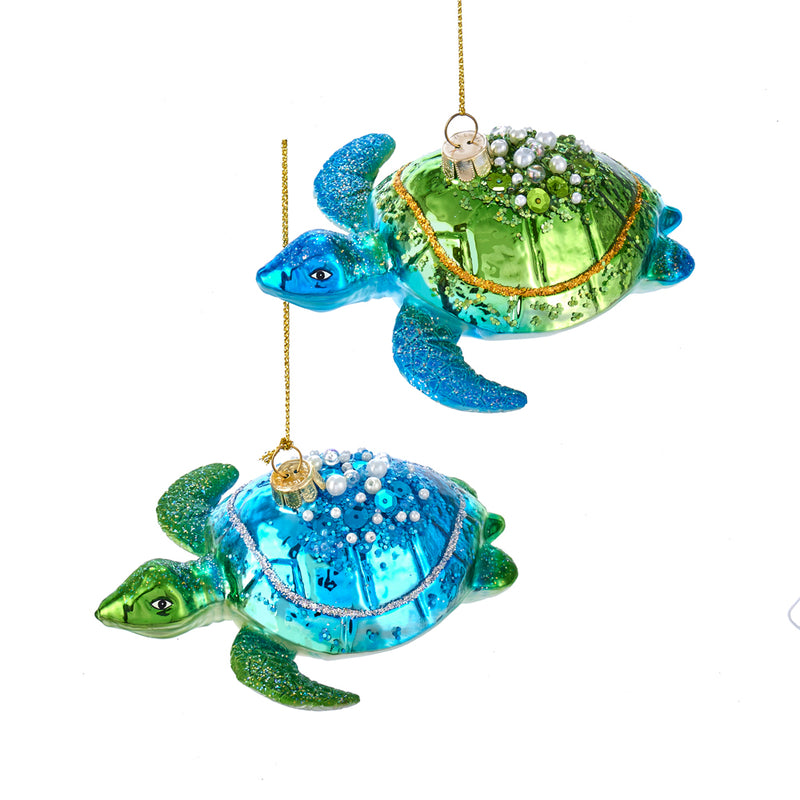 Blue and Green Sea Turtle Ornament 4.75""