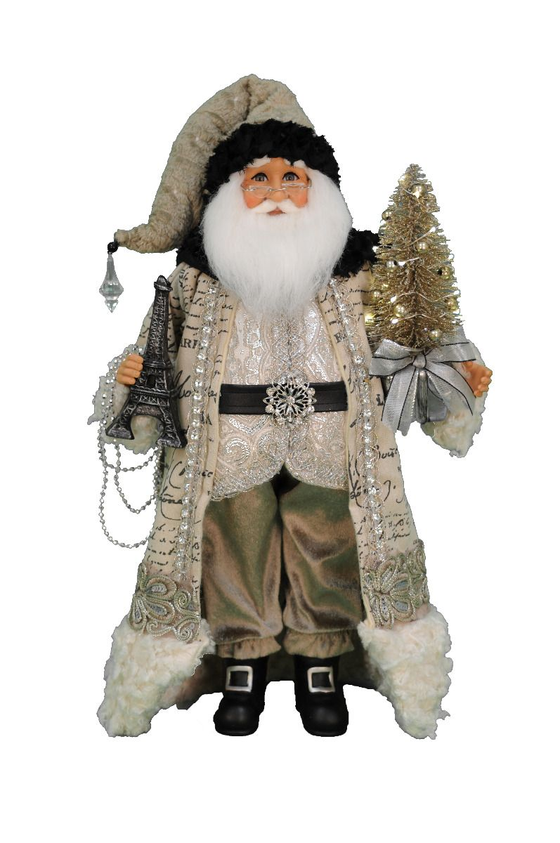 Lighted Paris Elegance Santa, 19""