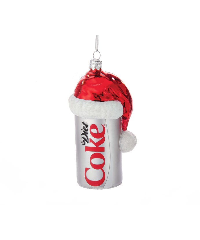 Glass Diet Coke Ornament with Santa Hat, 4.5""
