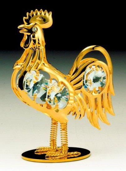 Rooster Orn. 24K Gold Plated W/Swarovski Crystal
