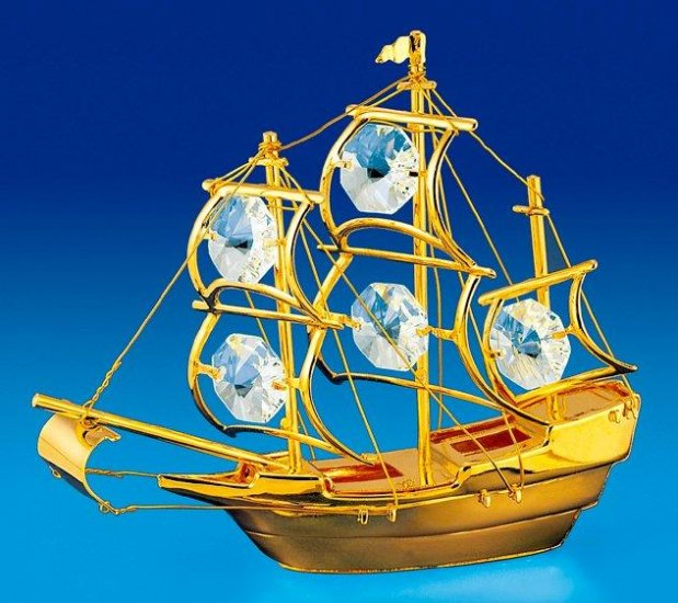 Mayflower Orn. 24K Gold Plated W/Swarovski Crystal