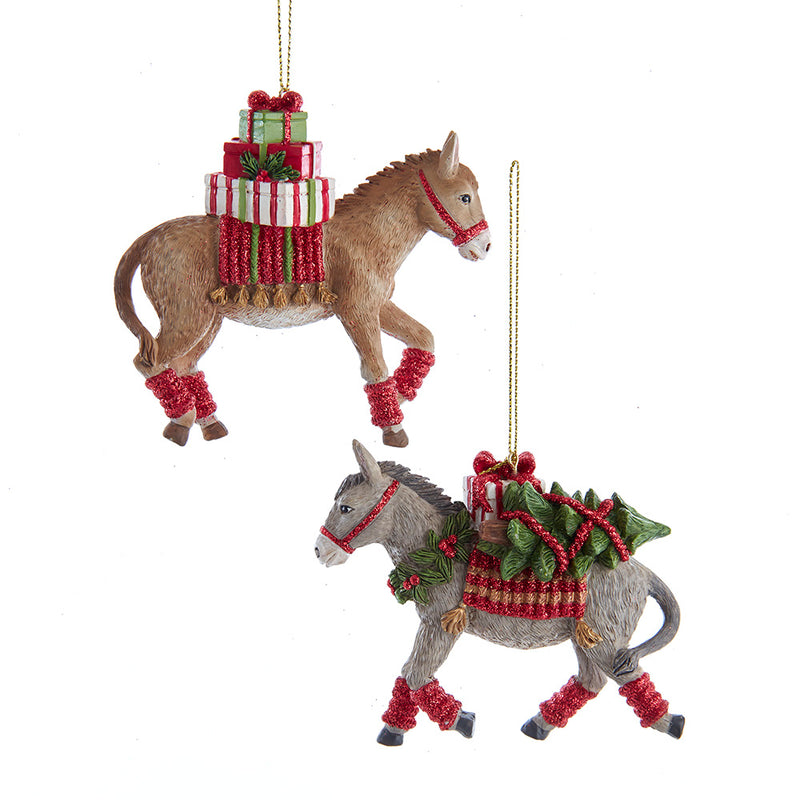 Gray and Tan Donkey With Gifts Ornaments 4""