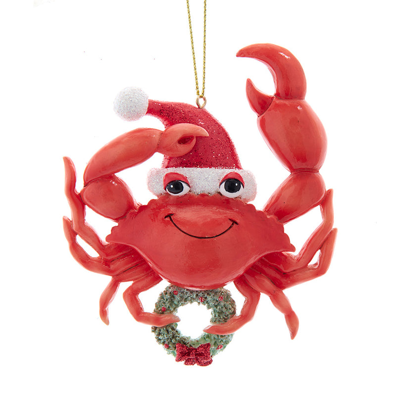 Whimsical Red Sea Crab Holding Wreath Ornament 4""