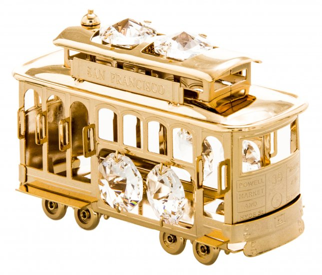 Cable Car Orn. 24K Gold Plated W/ Swarovski Crystal