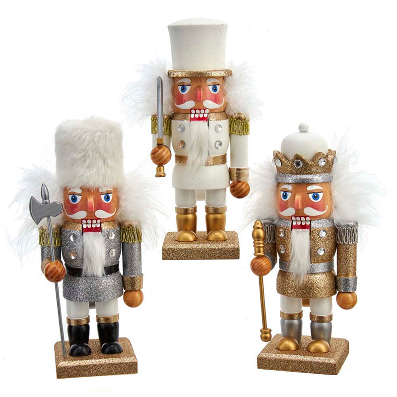 Gold, Silver, and White Soldier Nutcrackers 9""