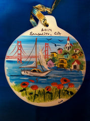 Hand Painted Ceramic Sausalito Golden Gate Bridge w/ Sail Boat Ornaments