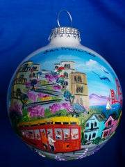 Hand Painted San Francisco Montage Glass Ball Ornament