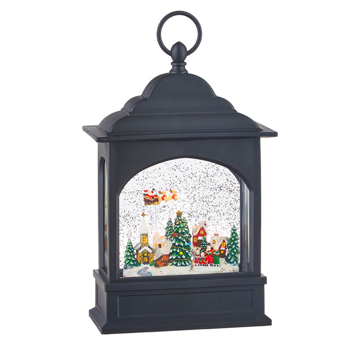 FLYING SANTA LIGHTED WATER LANTERN 11""