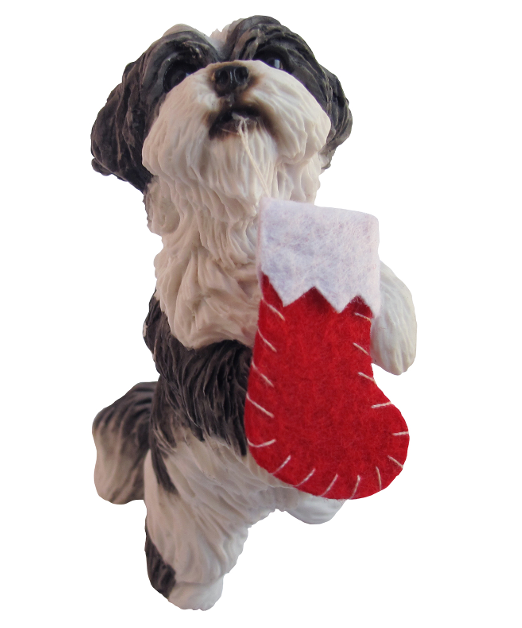 Shih Tzu Silver/White Dog Ornament