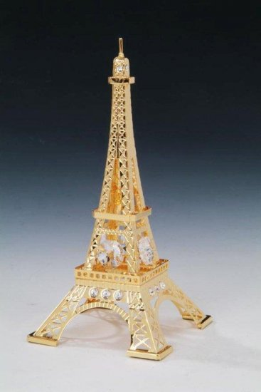 Eifle Tower Ornament 24K Gold Plated W/Swarovski Crystal