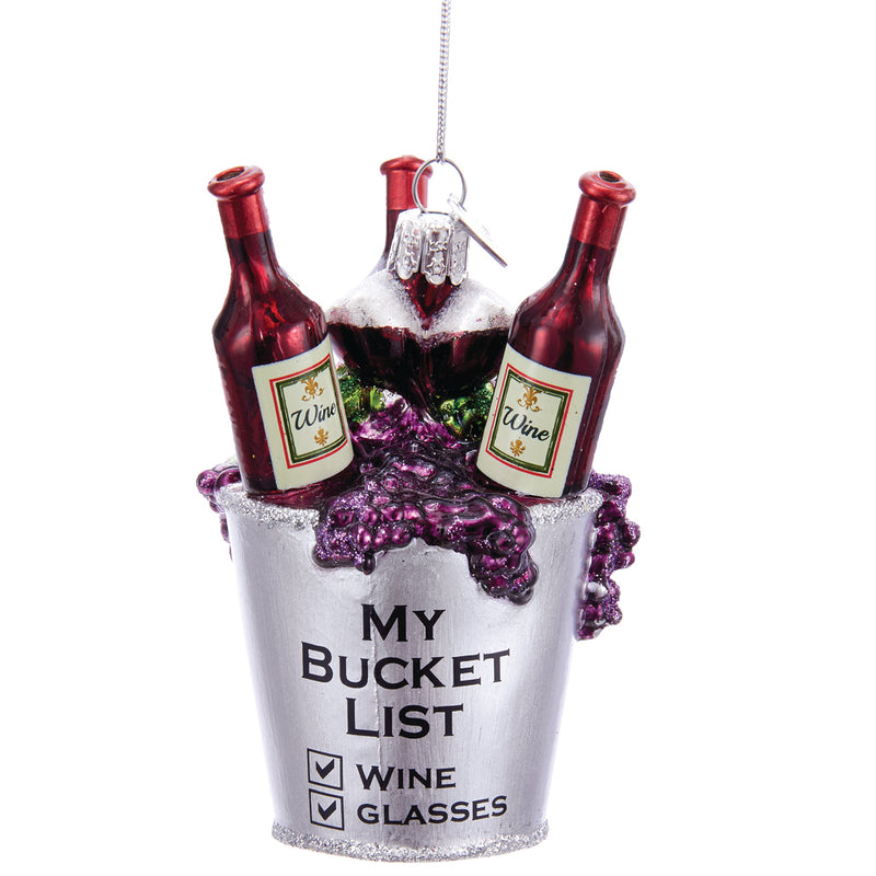 Wine Bucket List Glass Ornament 3.75""