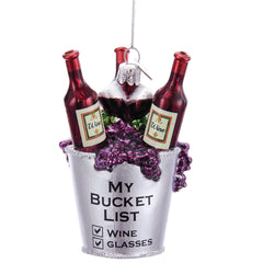 Wine Bucket List Glass Ornament 3.75