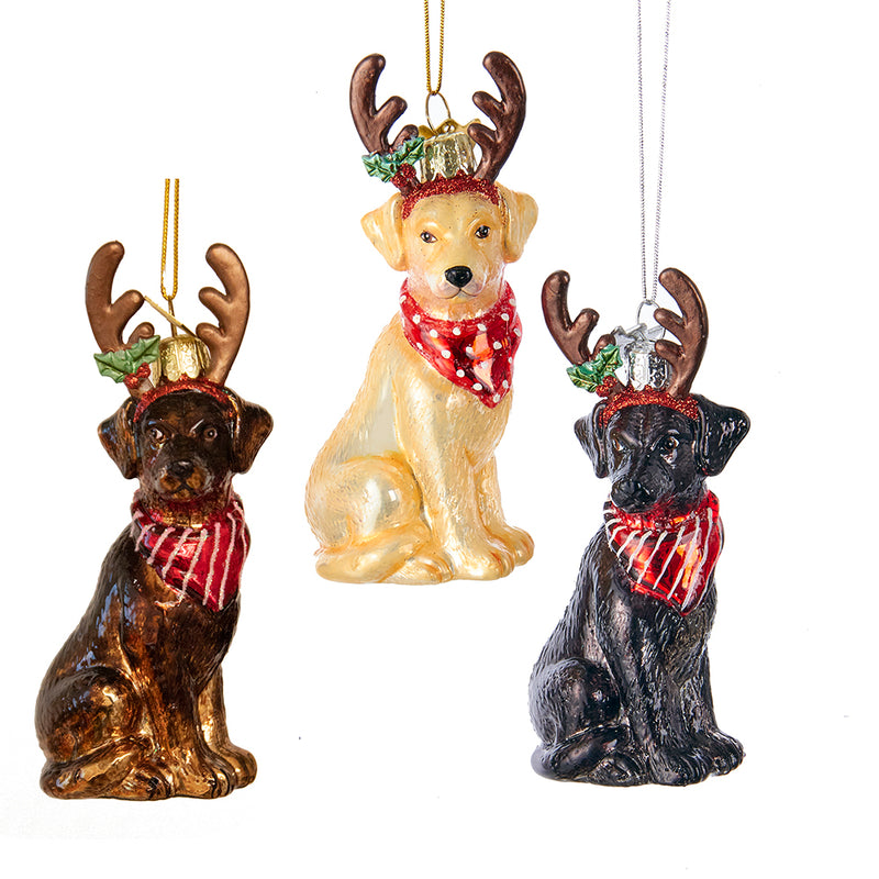 Glass Labrador Retriever Dog with Antlers Ornaments, 4""