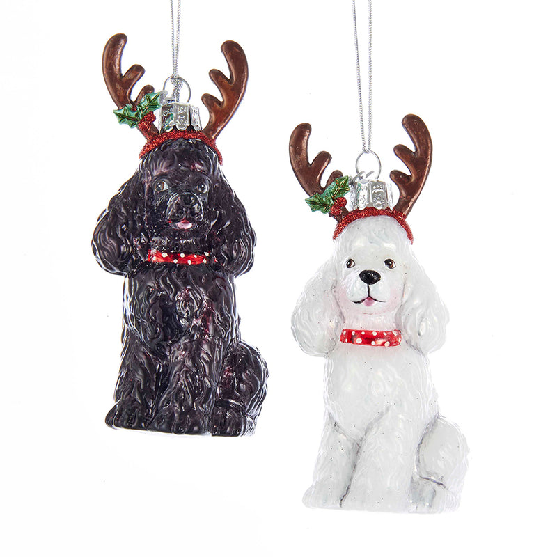 Poodles With Antlers Glass Ornament, 4""