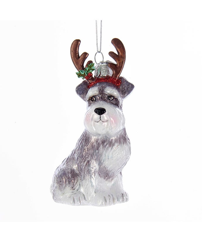 Schnauzer With Antlers Glass Ornament, 4""