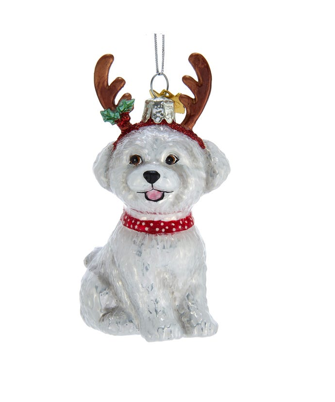 Bichon Frise With Antlers Ornament