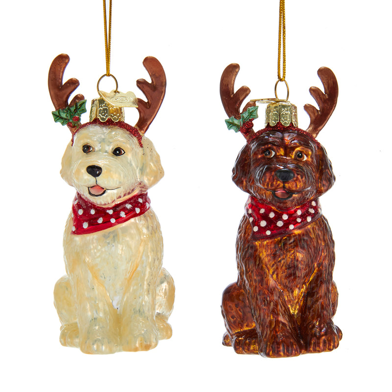 Labradoodle with Antlers Glass Ornament, 4""