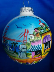 Hand Painted Sausalito Montage Glass Ball Ornament