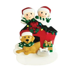 Family of 2 With Dog Ornament
