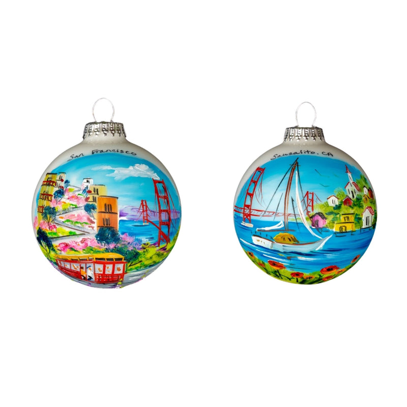 San Francisco Golden Gate and Sausalito Sailboat 2 Sided Hand Painted Glass Ball - 1 Ornament