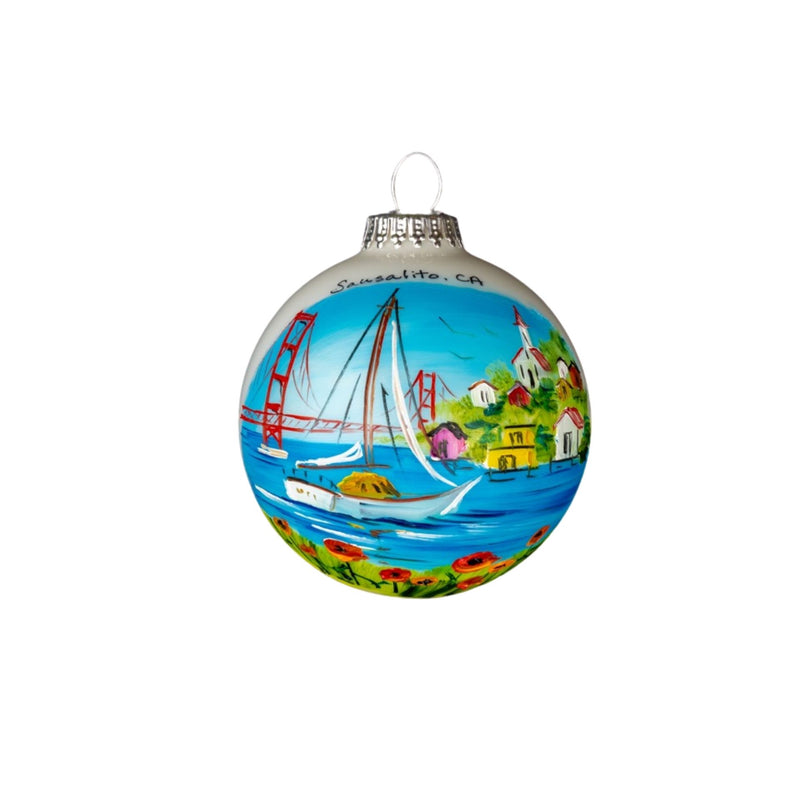 Sausalito,Ca Golden Gate Bridge, Sail Boat Hand Painted Glass Ball