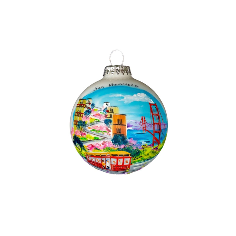 San Francisco Montage Hand Painted Glass Ball Ornament 3 1/4""