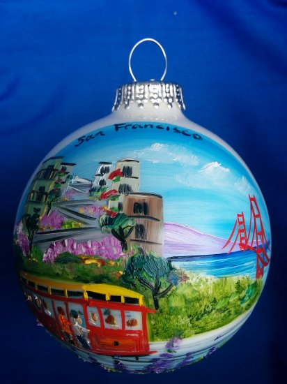 Hand Painted San Francisco Cable car Glass Ball Ornament