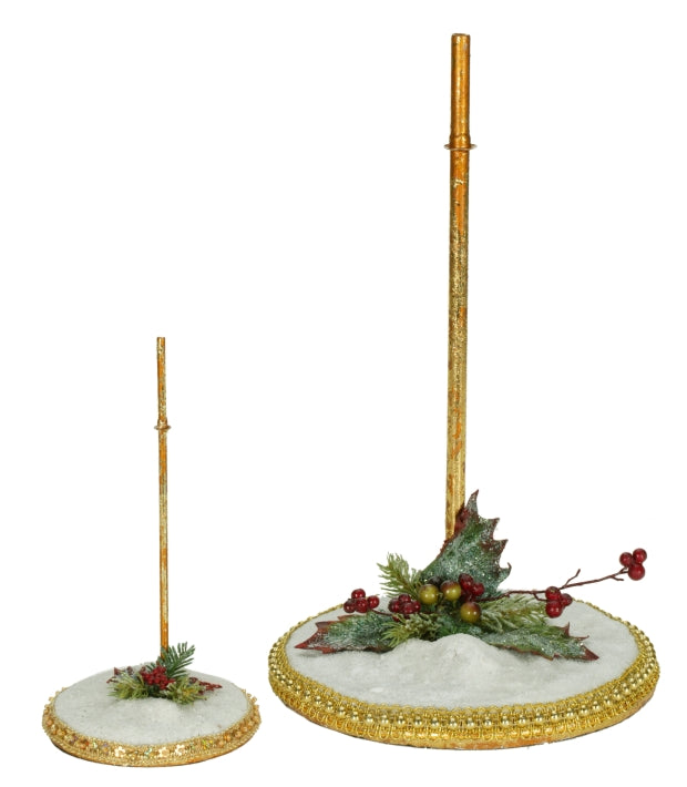 "Mark Roberts Snow Base Set Of 2 Stands, Large 12.5"" & Small 7.5"""