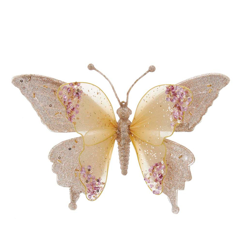 Gold and Pink Lace Butterfly Clip-On Ornament, 9.5""