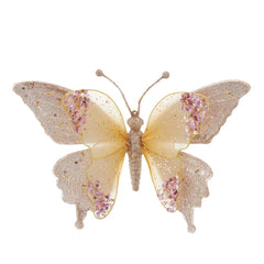 Gold and Pink Lace Butterfly Clip-On Ornament, 9.5