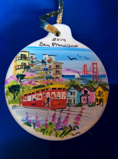 Hand Painted Ceramic San Francisco Montage Ornament