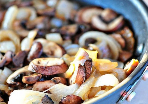Hot dog recipe to spice up your hot dogs on the grill. Pictured: sautéed mushrooms and onions to add to your hotdog