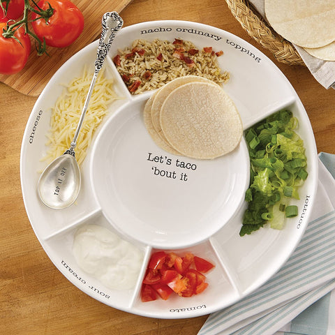 Level up your taco party! Pictured: Taco Tray with the quote Let's Taco Bout it.
