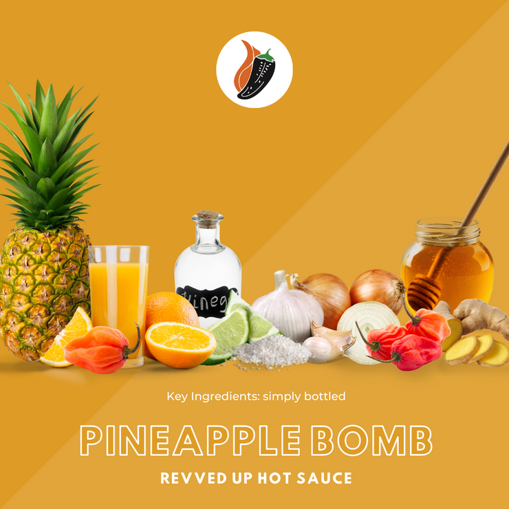 Pineapple Bomb Hot Sauce - | Revved Up. Pineapple Bomb Hot Sauce. Made with real pineapples instead of the artificial stuff typically found in other hot sauces, this zesty mixture gives your boring food new life while giving a tropical sweetness with a medium-high heat that will have your mouth watering for more. Kick up lunches such as chicken sandwiches and burgers or add some flavor to traditional Mexican dishes like burritos and tacos! Key ingredients of pineapple bomb hot sauce shown visually.
