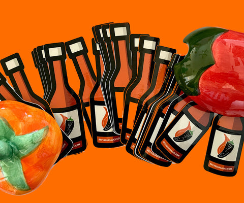 Revved Up Hot Sauce Stickers and Decoration