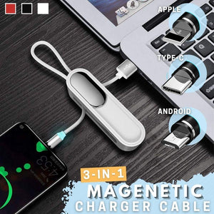 3 in 1 Magnetic Mini Phone Charger Cable with Phone Stand (1 Cable = Bought 3 Cables)