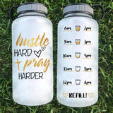 Hustle Hard Pray Harder Water Bottle | 34oz