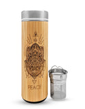 17.9oz Peace Premium Insulated Bamboo Water Bottles