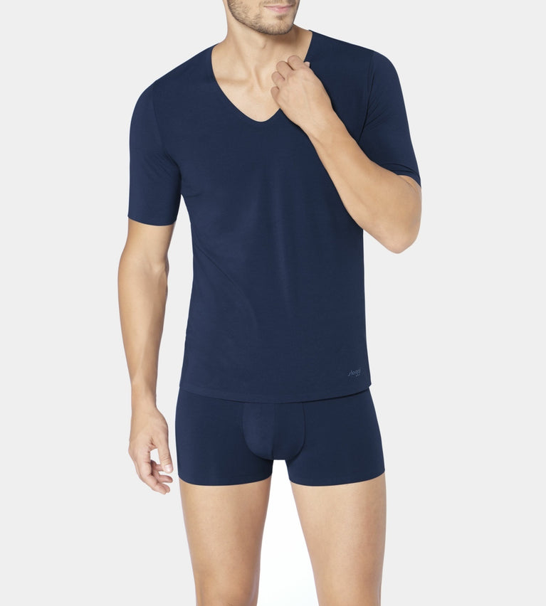 SLOGGI MEN ZERO FEEL V-NECK TOP - BLUE - DARK COMBINATION