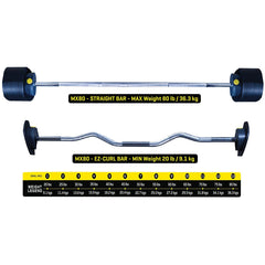 MX Select MX80 Adjustable Barbell and EZ Curl Bar with Rack