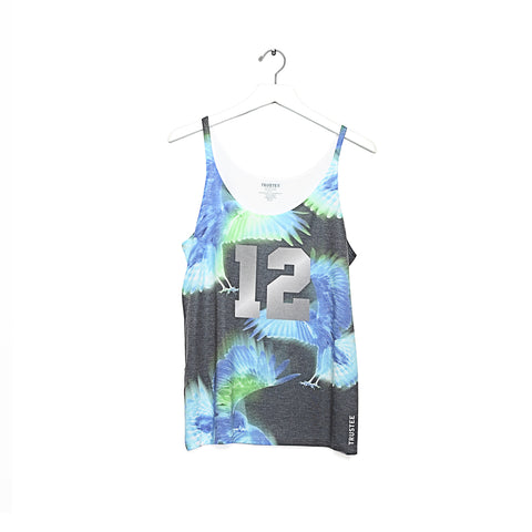 VINTAGE HAWK BLUE & GREEN THIN STRAP TANK