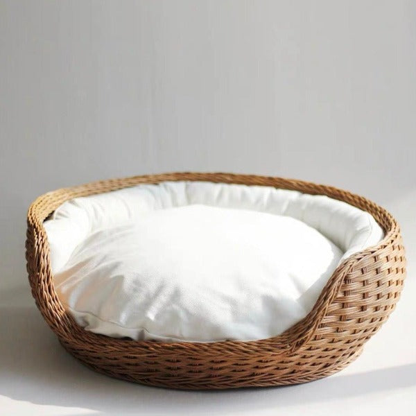 Catscity Handcrafted Rattan Pet Bed With Cushion Backorder Fluffurry