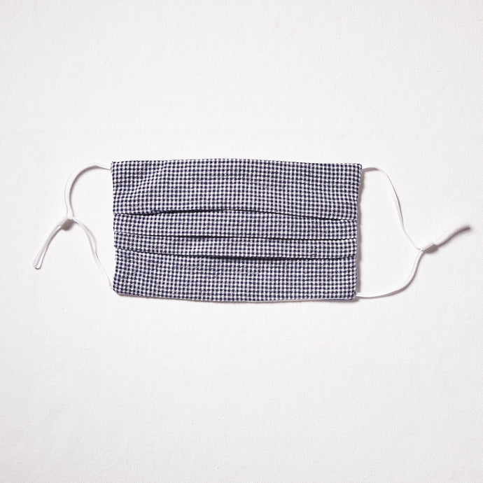 Navy and White small check mask with adjustable straps and nosewire for optimal fit